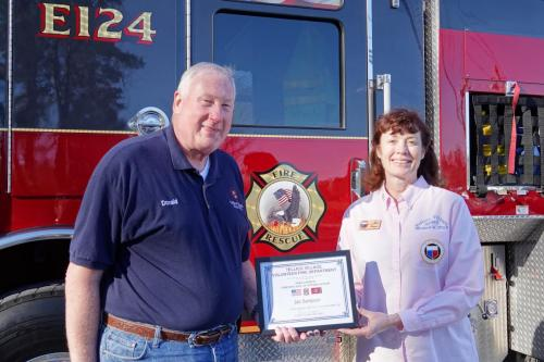 2018-02-27 Jan Sampson Fire Chief Certificate of Appreciation